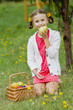 Fruits orchard - lovely girl eating picked ripe pear