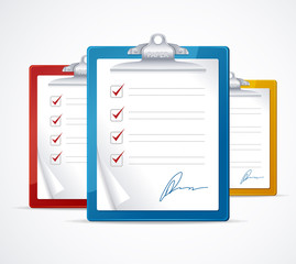 Vector illustration of check list and signature