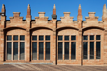 Modernist factory facade