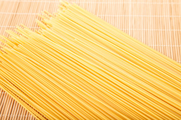 Dry Spaghetti on Bamboo Mat