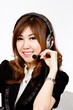 Asian women call center with phone headset