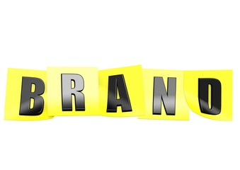 Brand in yellow note