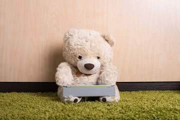 Teddy bear with tablet computer