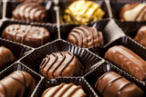 close up of delicious chocolate pralines
