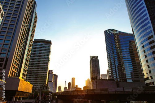 Sunset cityscape in the midst of Bangkok town, Thailand