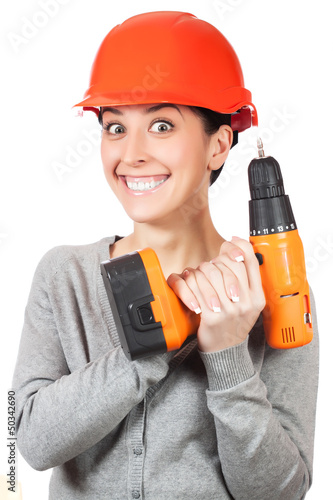 smiling woman with orange hard hat. isolated
