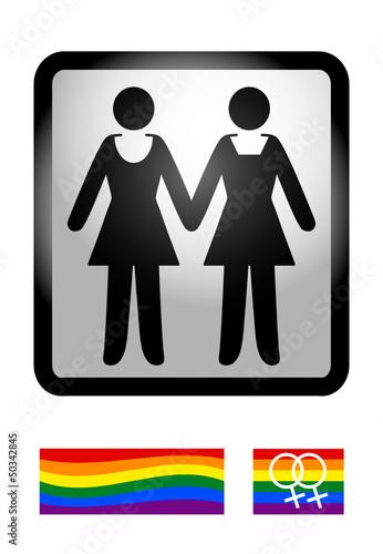 Gaypictogramm WOMEN mit Regenbogenflaggen