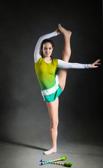 Girl in gymnastics pose