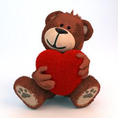 Teddybär umarmt Plüschherz