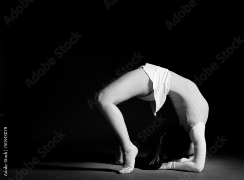 Gymnastics pose black and white