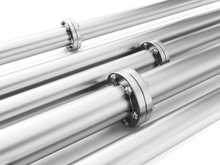 Image of metal pipes, industrial piping delivery of fuel or wate