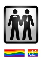 Gaypictogramm MEN mit Regenbogenflaggen