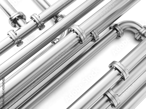 Group metal pipe on a white background close-up.