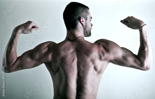 muscular young man back