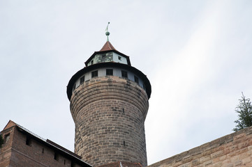 Detail of a turret in the Nuremberg castle area, Germany