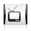 tv black and white square web glossy icon