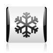 snowflake black and white square web glossy icon