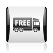 free delivery black and white square web glossy icon