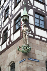 Saint George statue at Pilatushaus, Nuremberg, Germany