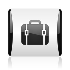 baggage black and white square web glossy icon