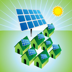 solar panels and houses