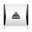 eject black and white square web glossy icon
