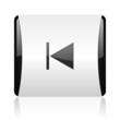 prev black and white square web glossy icon