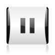 pause black and white square web glossy icon