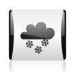 weather forecast black and white square web glossy icon