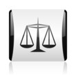 justice black and white square web glossy icon