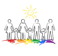 Regenbogenfamilie, Kinder- Buntstiftzeichnung