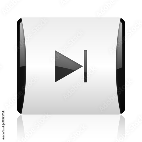 next black and white square web glossy icon