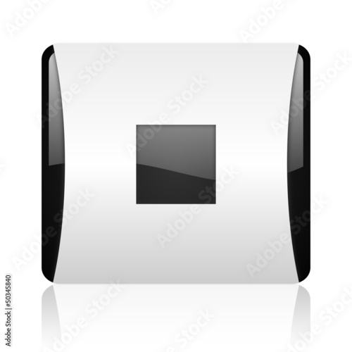 stop black and white square web glossy icon