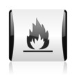 flames black and white square web glossy icon