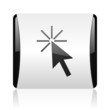 click here black and white square web glossy icon
