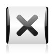 cancel black and white square web glossy icon