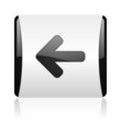arrow left black and white square web glossy icon
