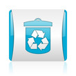recycle blue and white square web glossy icon