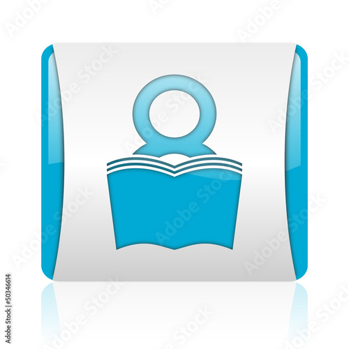 book blue and white square web glossy icon