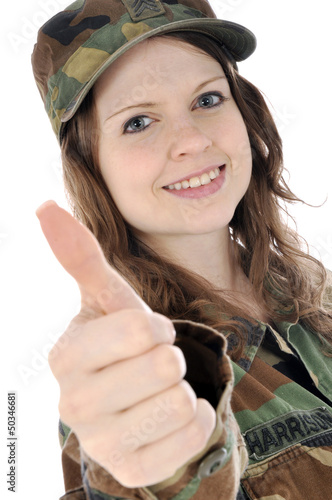 """Junge Soldatin """"Daumen rauf"""""""