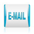 mail blue and white square web glossy icon