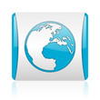 earth blue and white square web glossy icon