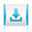download blue and white square web glossy icon