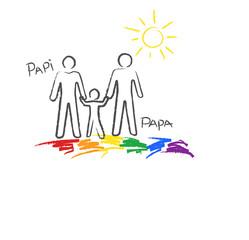 """Regenbogenfamilie, """"Papi+Papa"""" Kinder- Buntstiftzeichnung"""