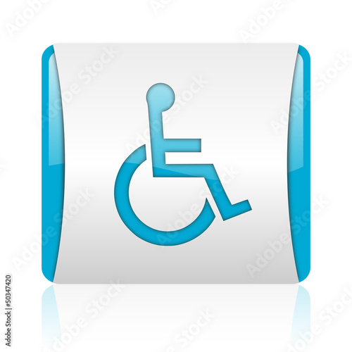 accessibility blue and white square web glossy icon