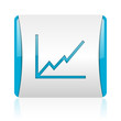 chart blue and white square web glossy icon