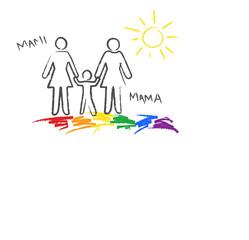 """Regenbogenfamilie, """"Mami+Mama"""" Kinder- Buntstiftzeichnung"""