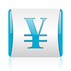 yen blue and white square web glossy icon