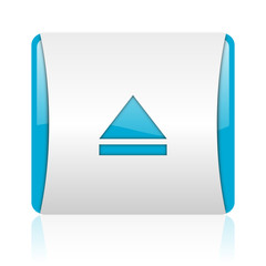 eject blue and white square web glossy icon