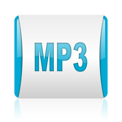 mp3 blue and white square web glossy icon